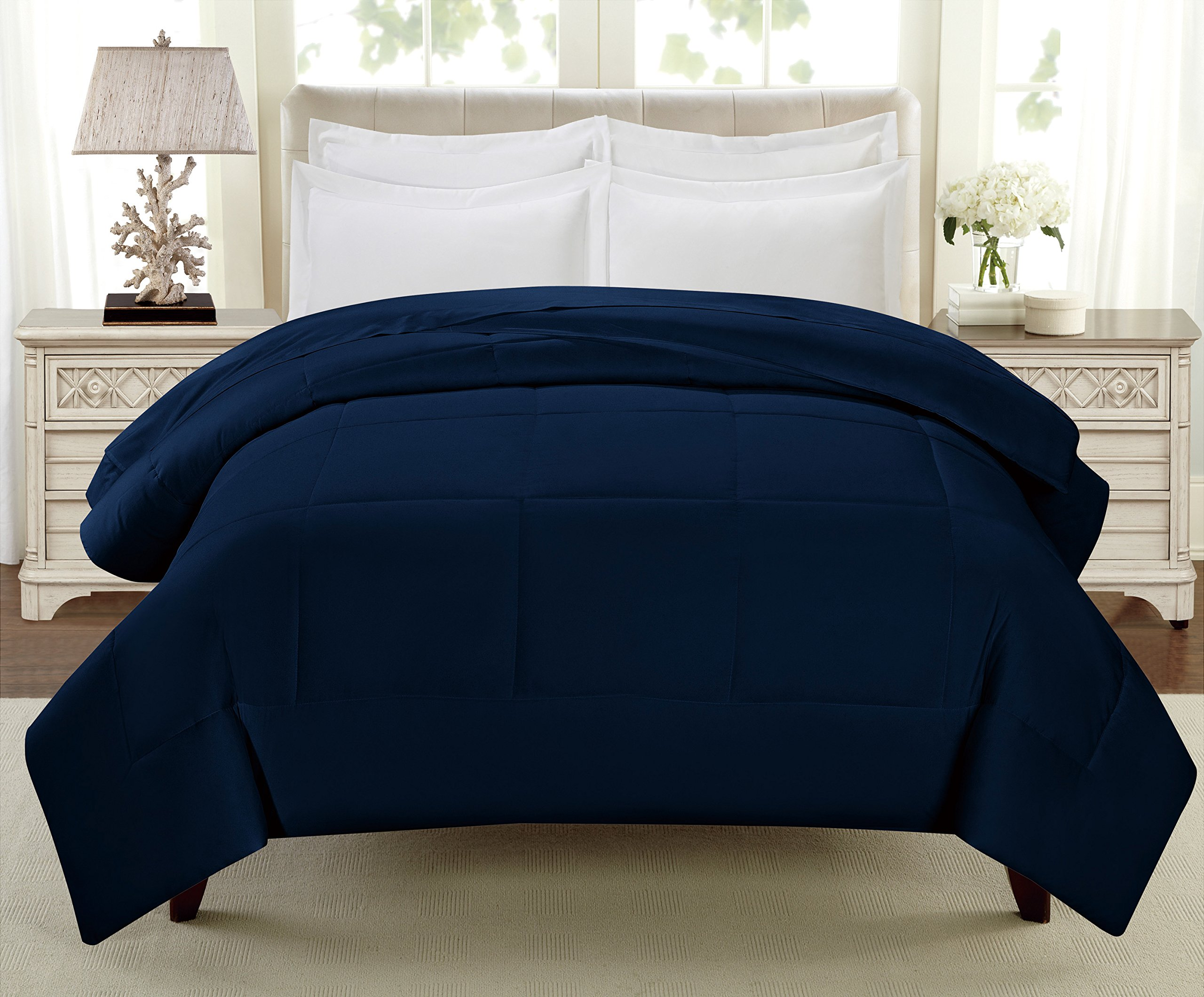 Swift Home All-Season Extra Soft Luxurious Classic Light-Warmth Goose Down-Alternative Comforter, Queen 90'' x 90'', Navy by Swift Home (Image #7)