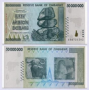 Zimbabwe 50 millones de dólares 2008 unc, mundo inflación Record, moneda billetes de banco: Amazon.es: Juguetes y juegos