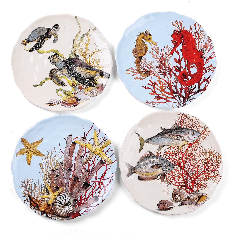 FORLONG FL8004 8'' Turtle Starfish Fish Seahorse Coral Plate Porcelain Dinnerware Dinner Plate Set of 4
