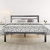 Zinus Black Modern Metal Steel Platform Double Size Bed Frame Headboard Base Mattress Foundation | Wooden Slats Under…