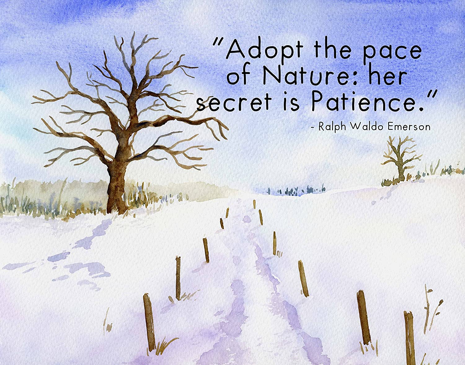 """Watercolor Art Print ~ Nature Scene with EMERSON Quote: 'Adopt the Pace of Nature: her Secret is Patience' (11""""×14"""")"""