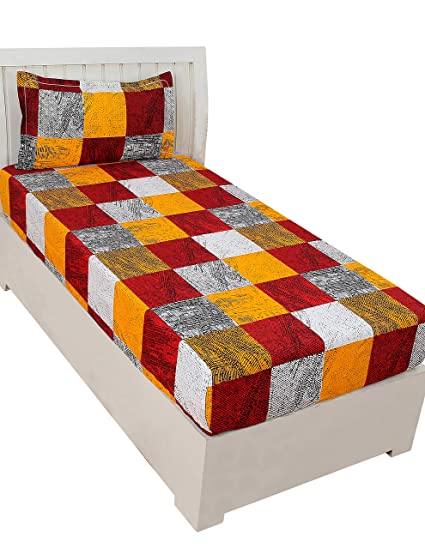 BSB Trendz Aura 3D Print Microfiber Wrinkle, Fade Resistant, Easy Elastic Fitting Single Size Soft 1-Piece Bed Sheet Set, Fitted Sheet with 1 Pillow Cases-Maroon & Yellow