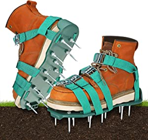 NASUM Nail Shoes Lawn Aerator Spiked Shoes for Aerating Lawn Soil, One-Size-Fits-All, Sandals Loose Soil Shoes for Lawn Patio Yard Garden Aerating with 4 Adjustable Straps, Revives Soil Health
