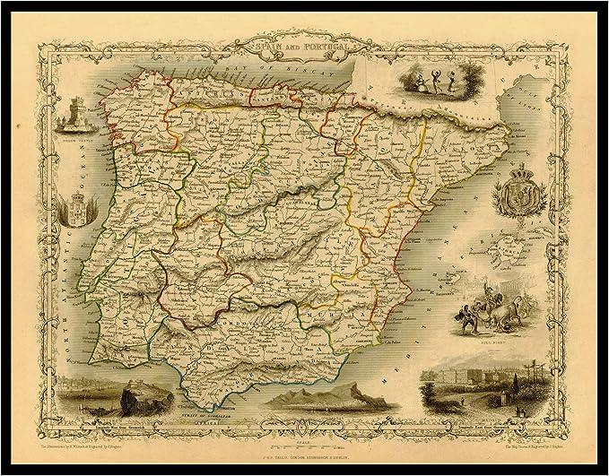 Mapa de reproducción vintage de la biblioteca de mapas antiguos de ESPAÑA y PORTUGAL 1851. Parte trasera de lino, mapa plegado., 60x79: Amazon.es: Hogar
