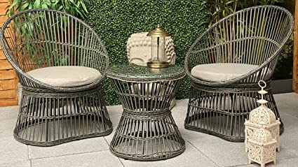 GREY Maison and Garden RATTAN SWIVEL BISTRO SET
