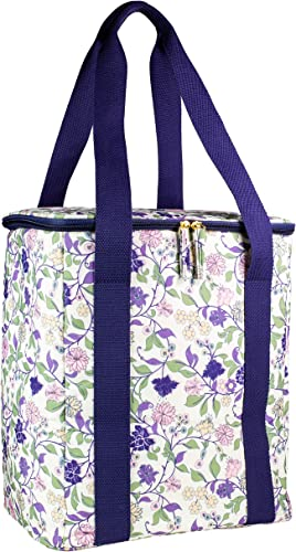 STEEL MILL AND CO. Cute Floral Family Size Insulated Picnic Market Bag, 4 Bottle Wine Champagne Carrier, Soft Sided Portable Cooler Bag for Beach, Travel, Shopping, Camping, Purple Vine