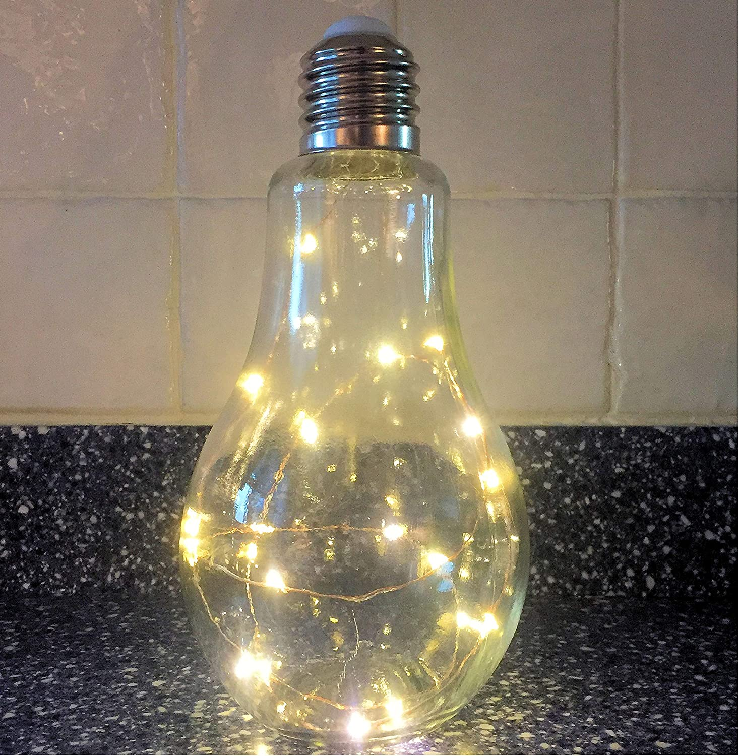 Battery Powered, 8 5//8H x 4 3//8 D Inches Included WHW Whole House Worlds Edison Faux Light Bulb LED Lamp LEDs ON Copper Wire Glass Metal and Plastic