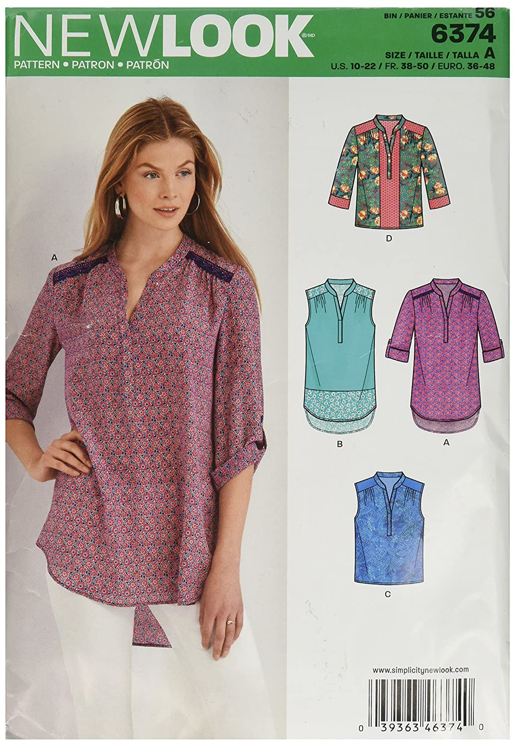 10-12-14-16-18-20-22 New Look Sewing Pattern 6871 Misses Tops Size A