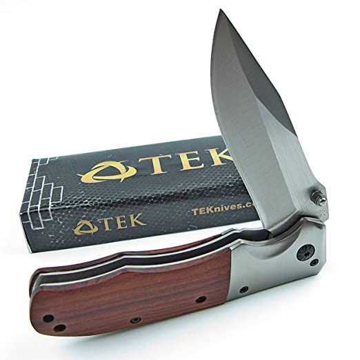 TEK Spring Assisted Opening Folding Pocket Knife: Beautiful Rosewood  Handles - 8Cr13MoV Razor Sharp Stainless Steel Blade - Perfect Everyday  Carrying