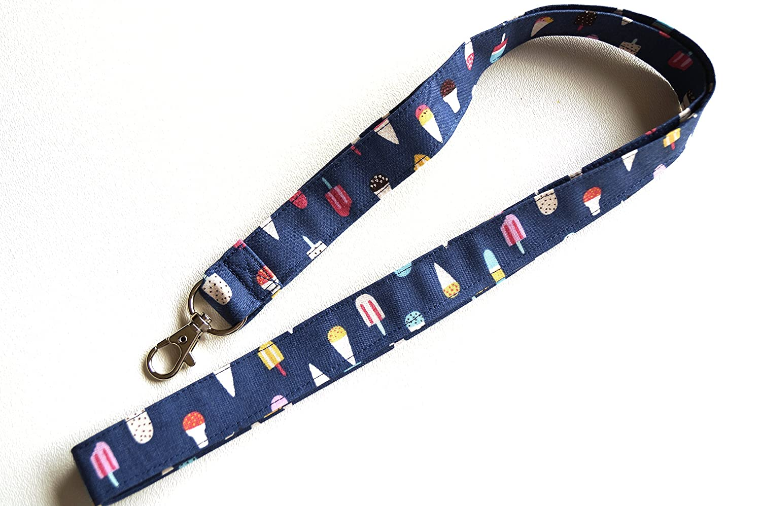 Blue Ice Cream Fabric Lanyard or ID Badge Holder Lanyard