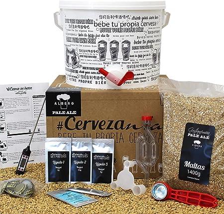 Pack completo para elaborar cerveza en casa | Kit Pale Ale y 16 Botellines con 100 chapas | Kit todo grano | Lúpulo fresco