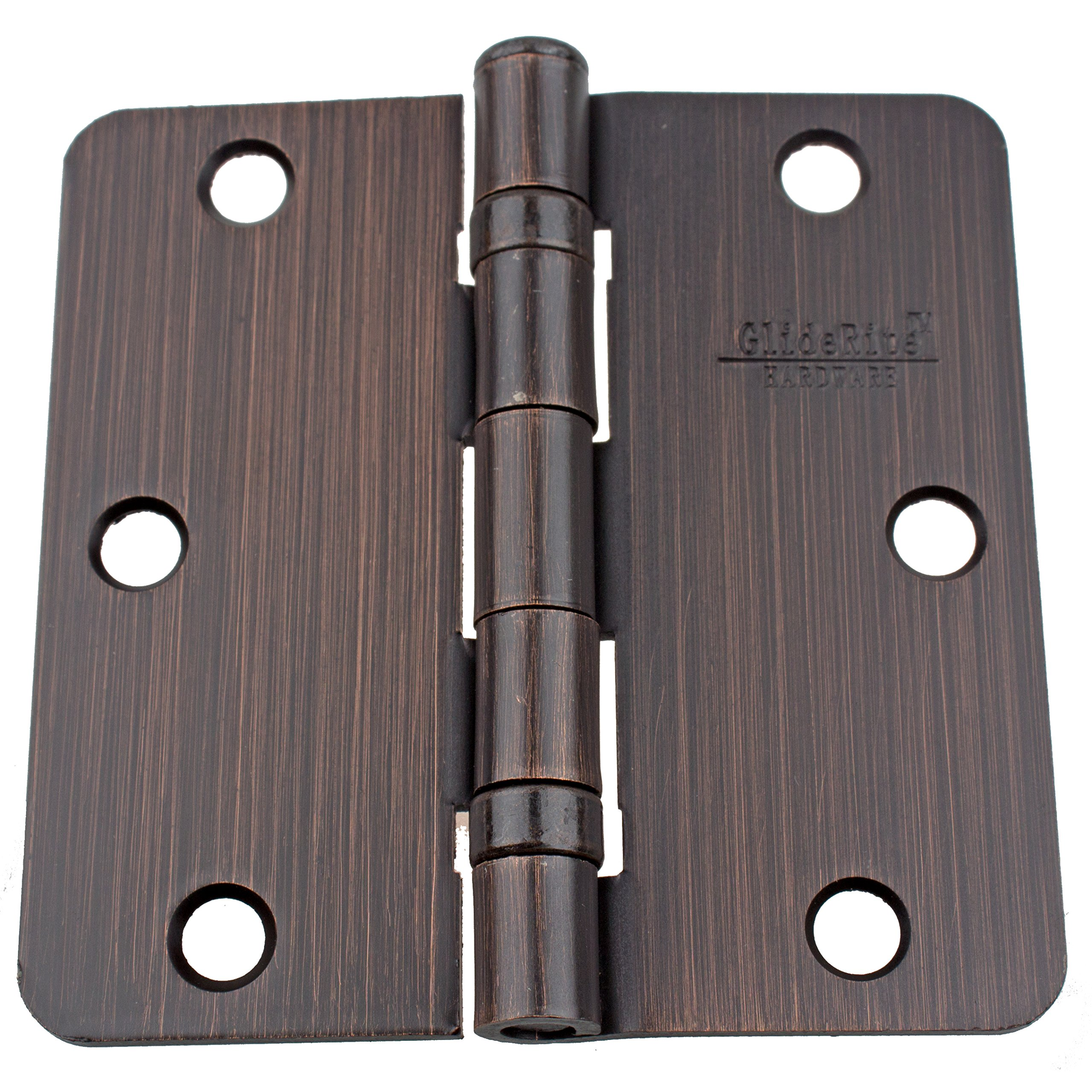 GlideRite Hardware 3514-2BB-ORB-30 Ball Bearing 3.5 inch Steel Door Hinges 0.25 inch Radius Corners Oil Rubbed Bronze Finish 30 Pack