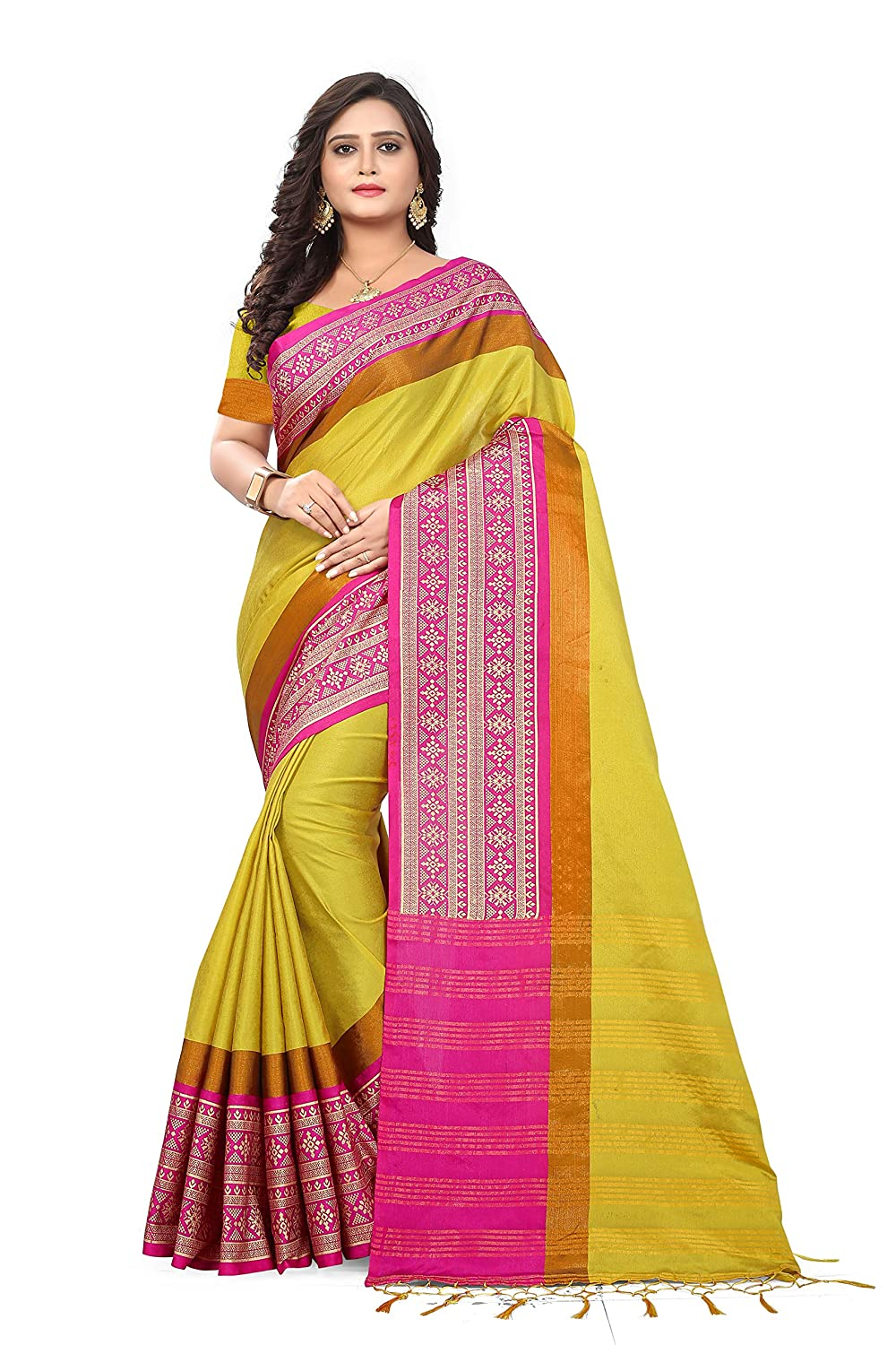Riva Enterprise Women's cotton silk golden foil saree with blouse