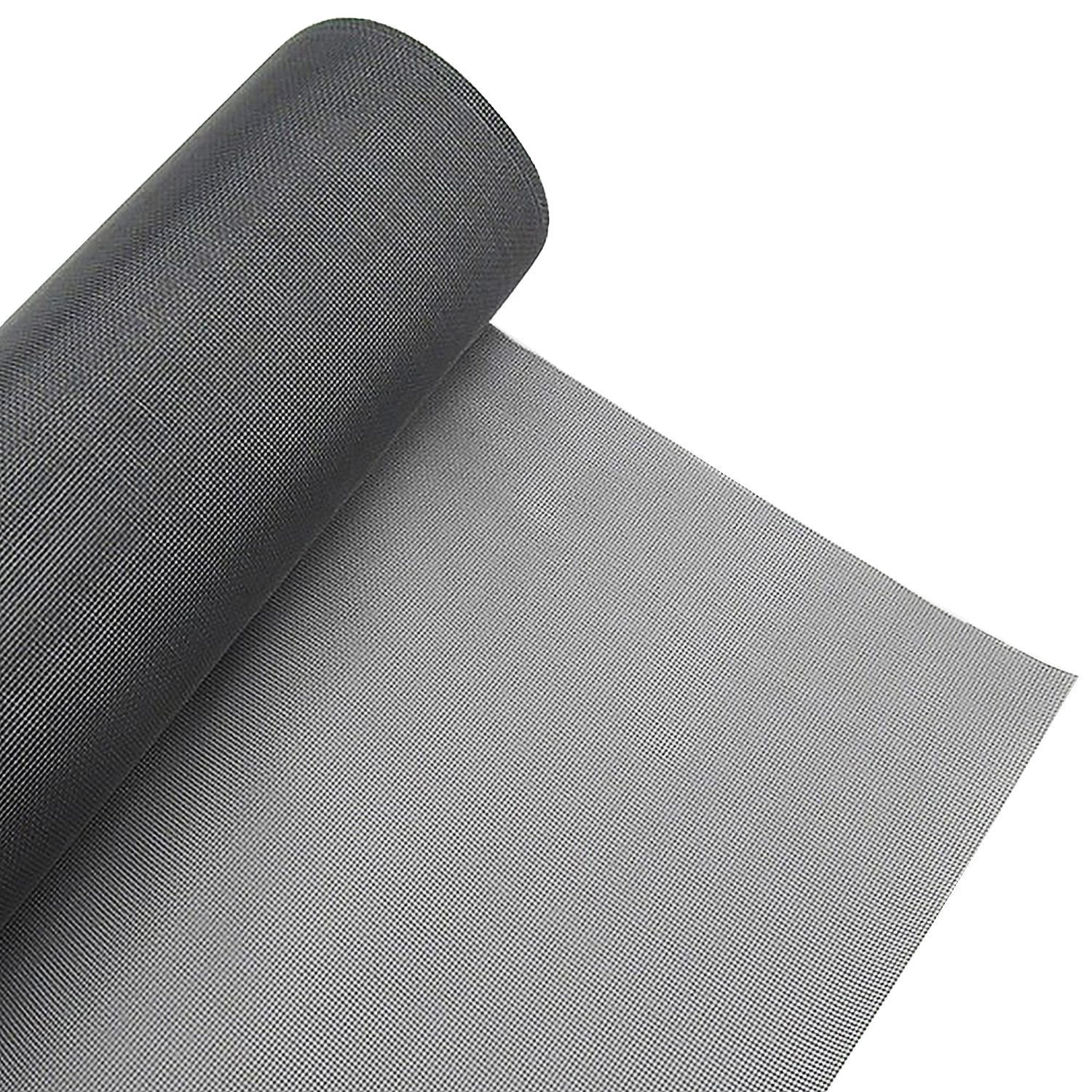 Window Screen Roll Adjustable Protector Screen Mesh Replacement Inflaming Fiberglass Summer Blocking Mosquito Insect Bug Fly for Window and Door with Cleaning Brush (Gray 48 x 99 inch) by LOOBANI