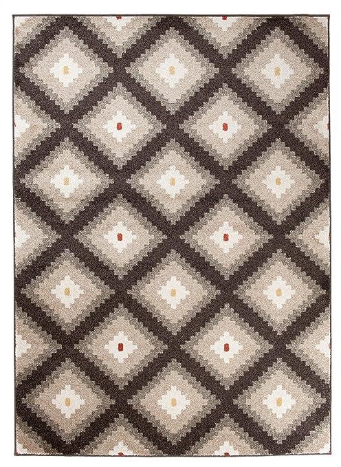 We Love Rugs - Carpeto Orientalisches Marokkanisches Teppich - Flor Modern  Designer Muster - Wohnzimmer Schlafzimmer Esszimmer - Braun Beige - 60 x ...