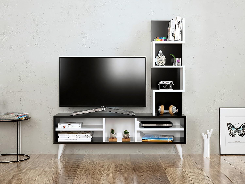 Lily Mueble salón Comedor para televisión - Blanco/Negro - Mueble ...