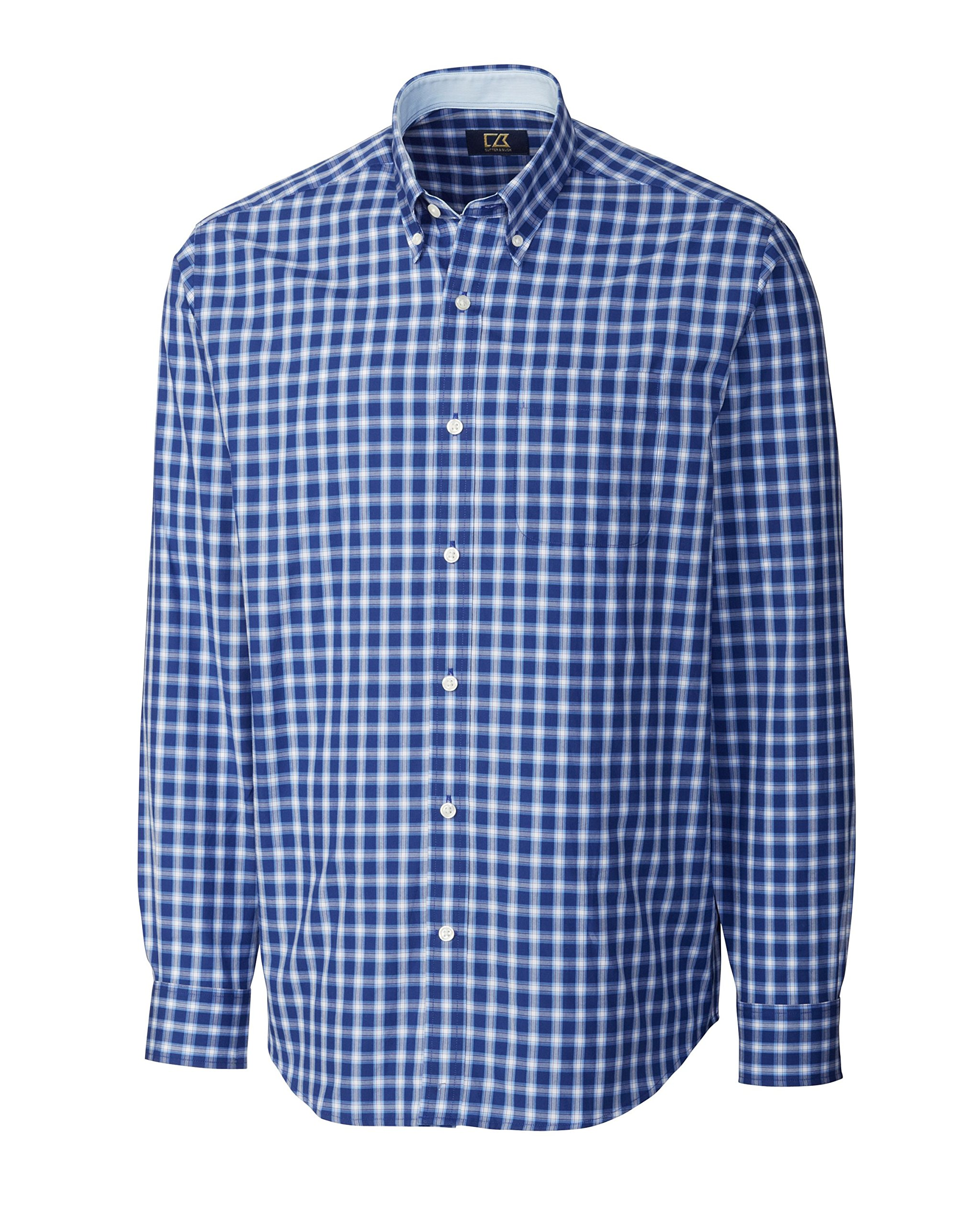 Cutter & Buck Men's Big-Tall Long Sleeve West Seattle Check Shirt, Atlantic, 2X-Big