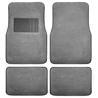 FH Group F14403GRAY Gray Carpet Floor Mat with Heel Pad 4- Piece Set for Cars, Trucks, Vans, and SUVs (Deluxe): Automotive