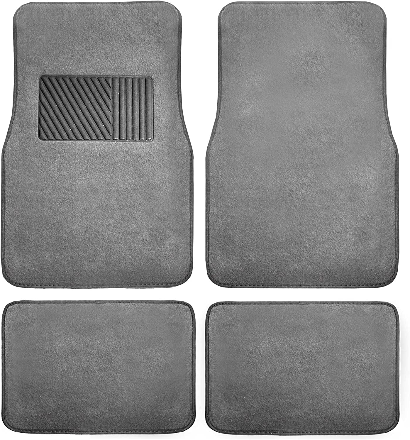 FH Group F14403GRAY Gray Carpet Floor Mat with Heel Pad 4- Piece Set for Cars, Trucks, Vans, and SUVs (Deluxe)