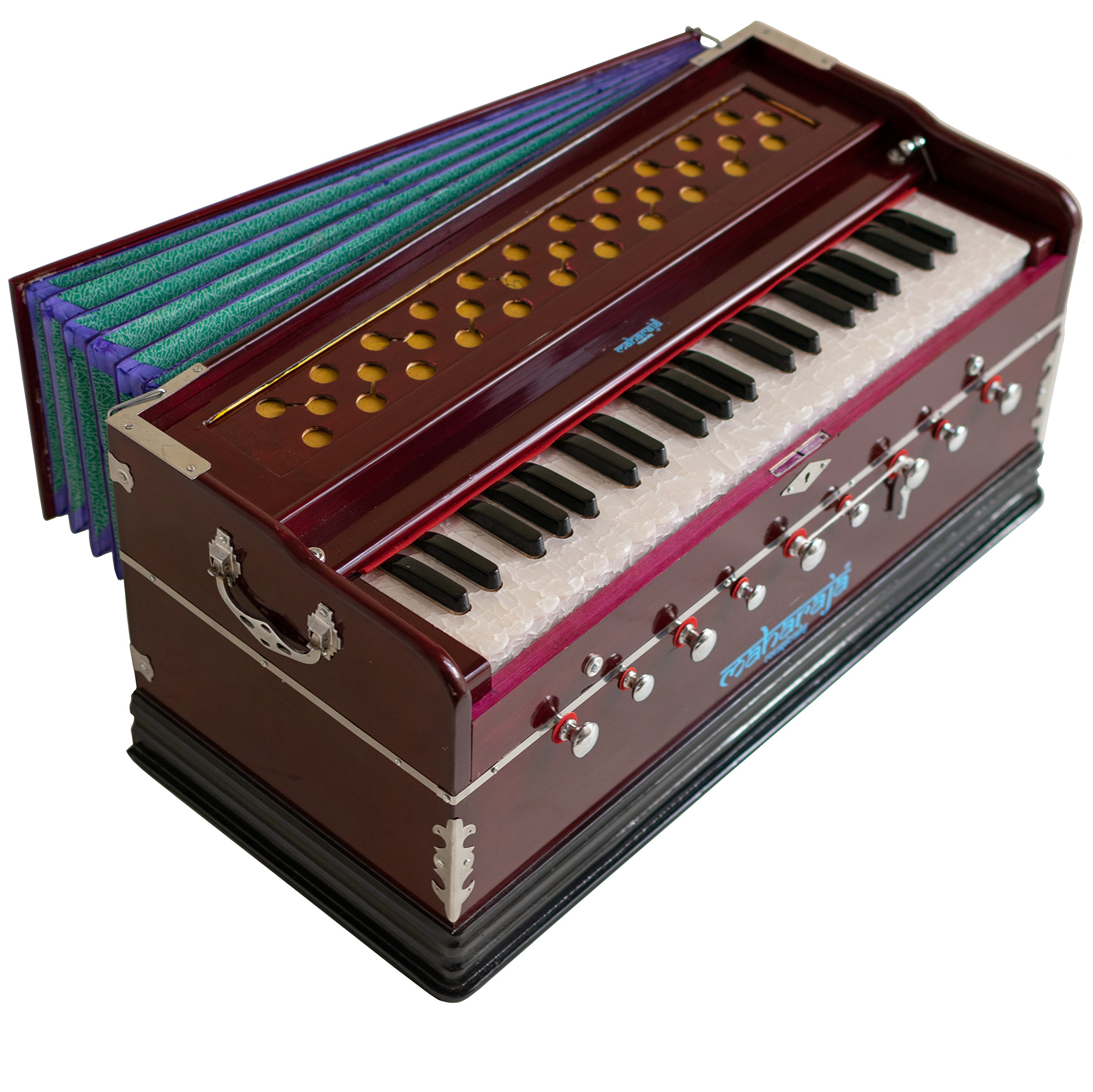 Harmonium Musical Instrument, Maharaja Musicals, In USA, 9 Stops, 3 1/2 Octave, Double Reed, Coupler, Dark Mahogany, Standard, Book, Padded Bag, A440 Tuned, Harmonium Indian Sangeeta (PDI-DC)