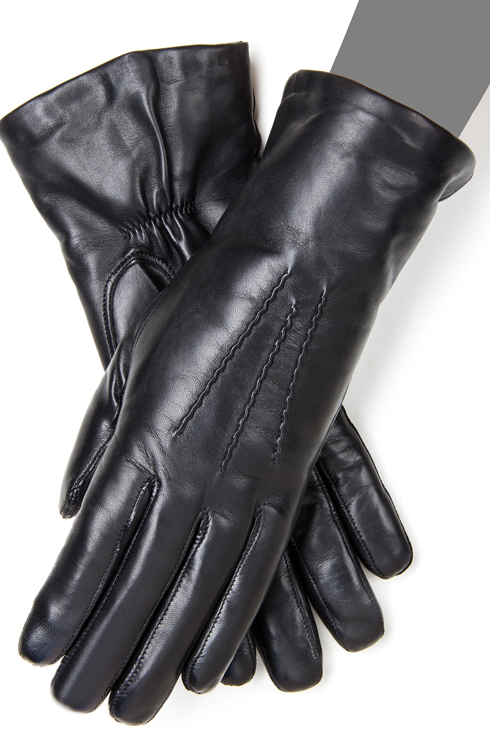 Gaspar Ladies' Cashmere Lined Leather Touchscreen Winter Gloves (7)