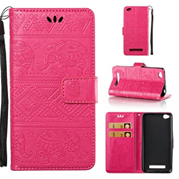 Funda Xiaomi Redmi 4A, CaseLover Piel Libro Cuero Elefante Impresión Carcasa para Redmi 4A con TPU Silicona Case Cover Interna Suave Flip Folio Tapa ...