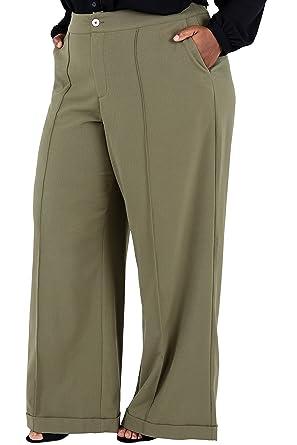 49cdce86e9c Poetic Justice Plus Size Curvy Women s Olive Green Wide Leg Trouser Pants  Size 14
