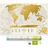 """Amazon Price History for:Detailed Scratch Off World Map - Premium Edition - 34.6"""" x 23.6"""" - Large Places I've Been Travel Map - You Can Scratch Off Over 10 000 Cities and Places"""