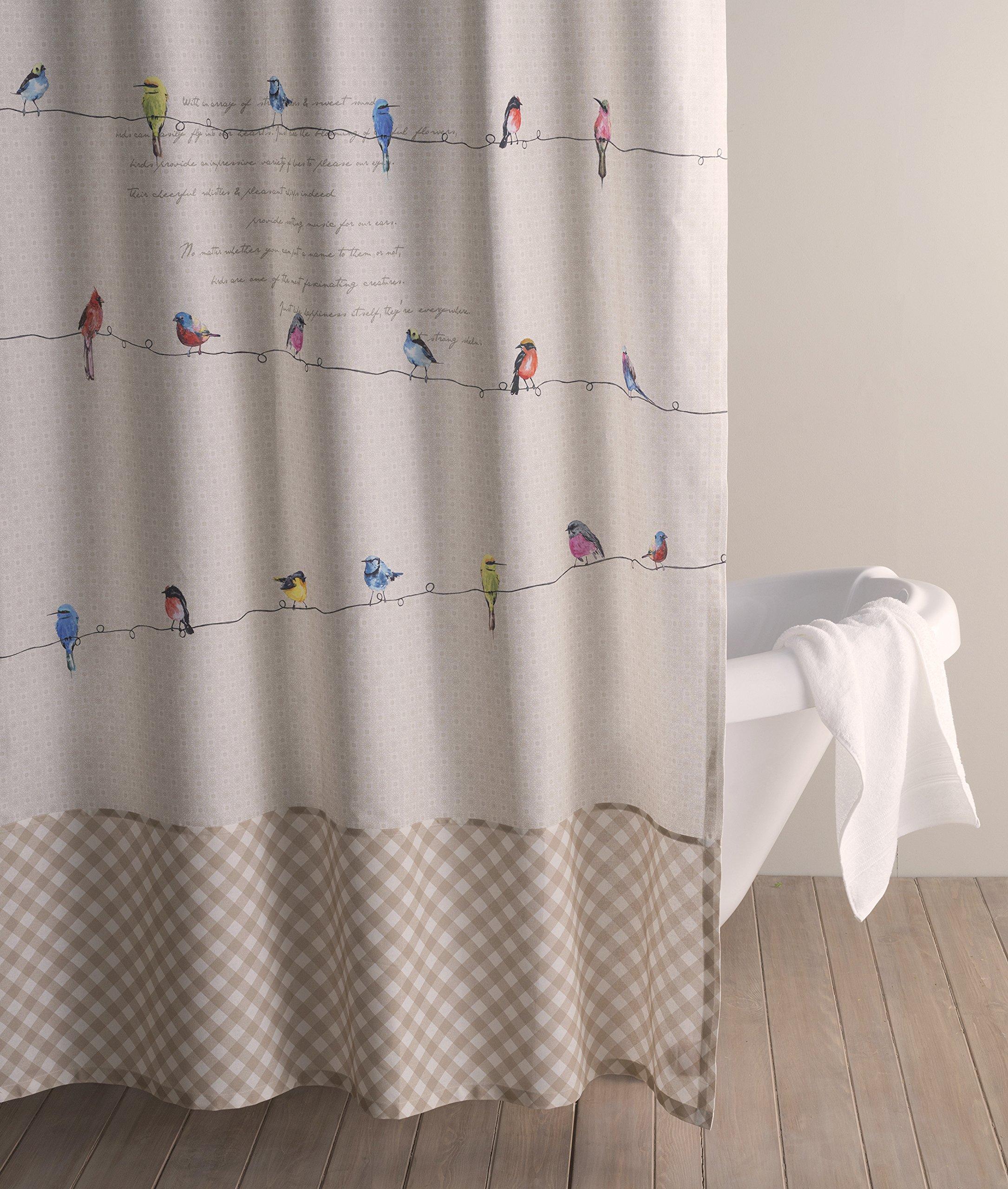 Maison d' Hermine Birdies On Wire 100% Cotton Shower Curtain 72 Inch by 72 Inch