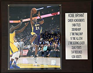 """product image for NBA Los Angeles Lakers Kobe Bryant Career Stat Plaque, 12"""" x 15"""", Brown"""