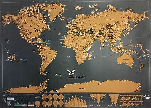 WINZLAND rubbel Tarjeta, Mundo rubbel Tarjeta, Mapa del Mundo para Frotar, Scratch Map, Super Calidad de Winz País: Amazon.es: Juguetes y juegos