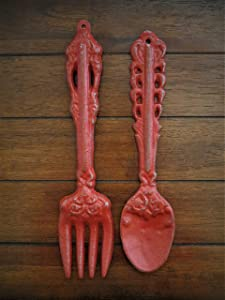 Fork and Spoon Wall Decor, Colonial Red Or Choose from Over 40 Colors, Rustic Farmhouse Kitchen Wall Décor, Painted to Order