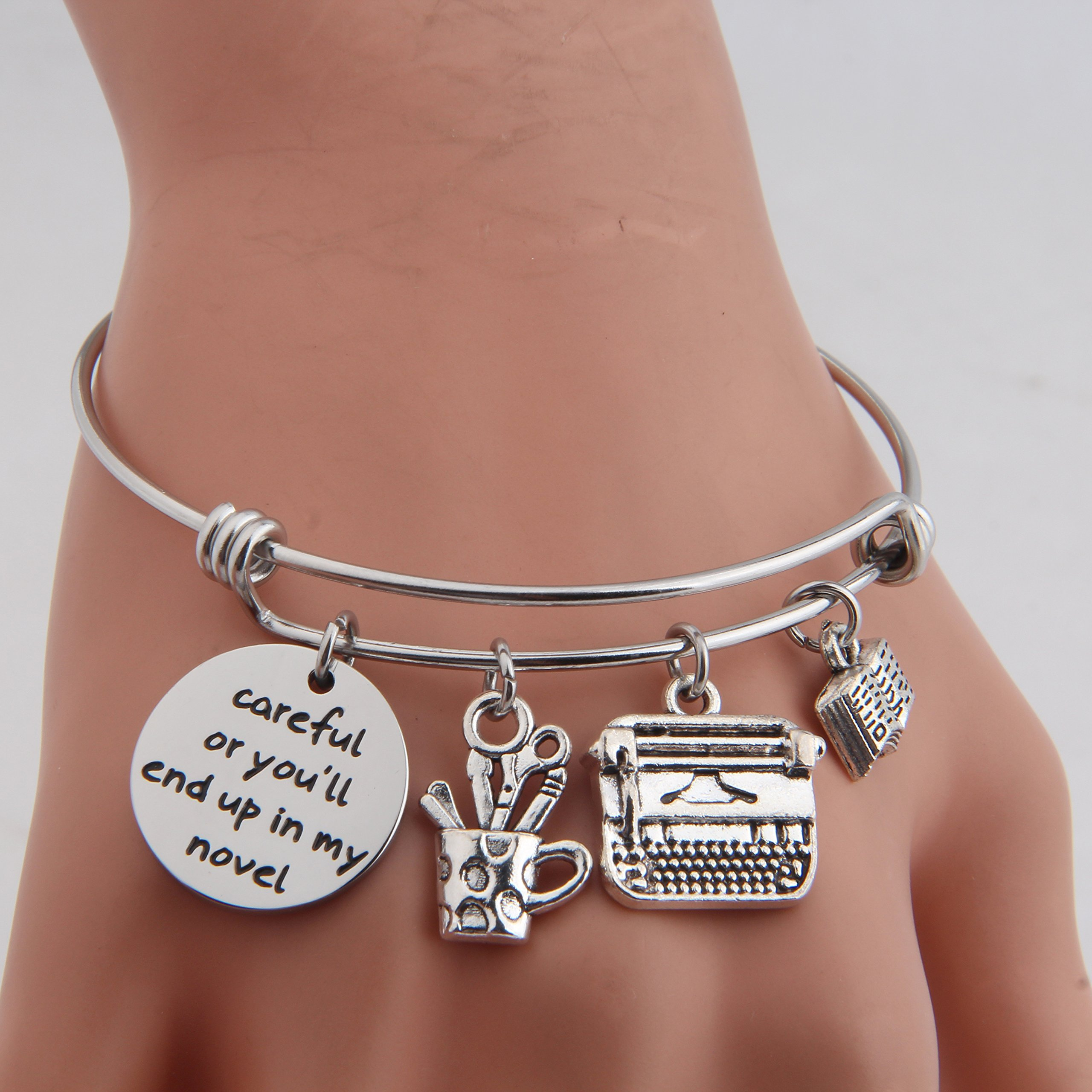 Gzrlyf Writer Bracelet Author Bracelet Writer Gift Novelist Gift Careful Or Youll End Up In My Novel Jewelry Writing Gift Author Jewelry (Writer bracelet) by Gzrlyf (Image #2)