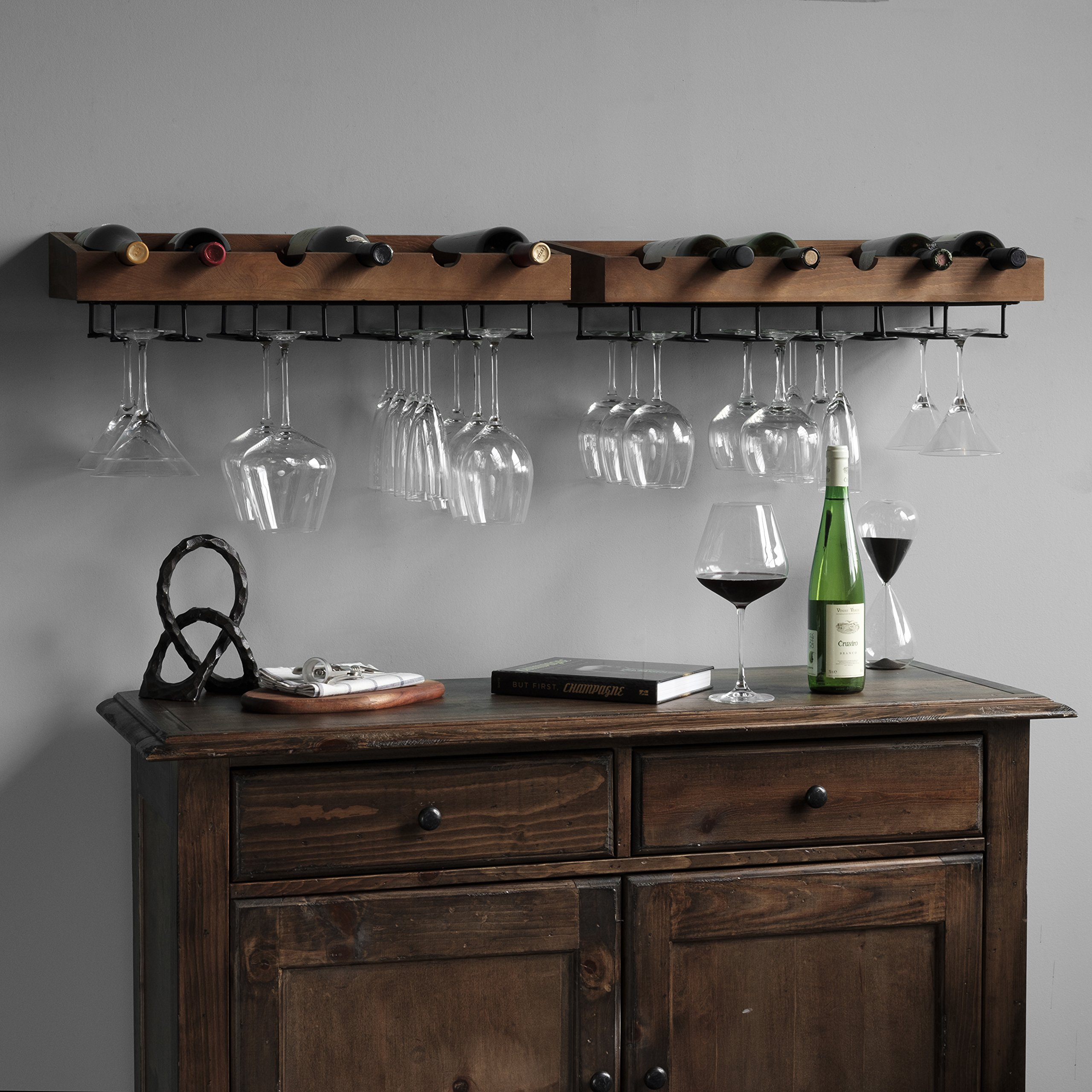 brightmaison Wall Mounted Walnut Stained Wood Wine Stem Rack for 6 Bottles and Stemware Glass Storage Holder Organizer Display (Set of 2) by brightmaison (Image #6)