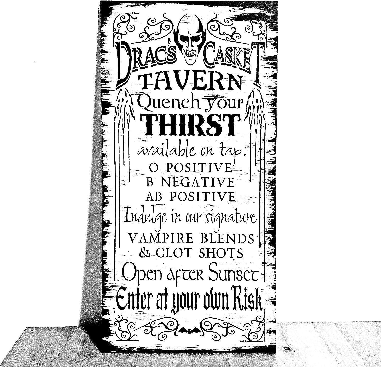 Dracs Casket Tavern Sign Wood Halloween Sign Wooden Home Decor Gothic Decor Vampire Dracula Black White Gift Primitive 6