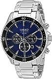 Seiko Men's Solar Chronograph Silvertone Watch with Blue Dial