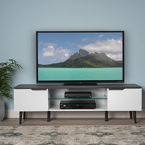 Reginald Mid Century Modern TV Stand White with Grey