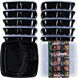 3-Compartment Premium Meal Prep Containers (48 Oz) (Set of 10)