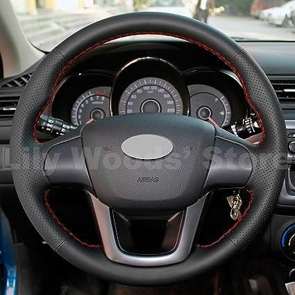 Amazon.com: JI Loncky Black Genuine Leather Auto Custom Steering Wheel Cover for 2012 2013 2014 2015 2016 Kia Rio Accessories: Automotive