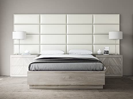 Incroyable VANT Upholstered Headboards   Accent Wall Panels   Packs Of 4   Deluxe  Leather Cream White