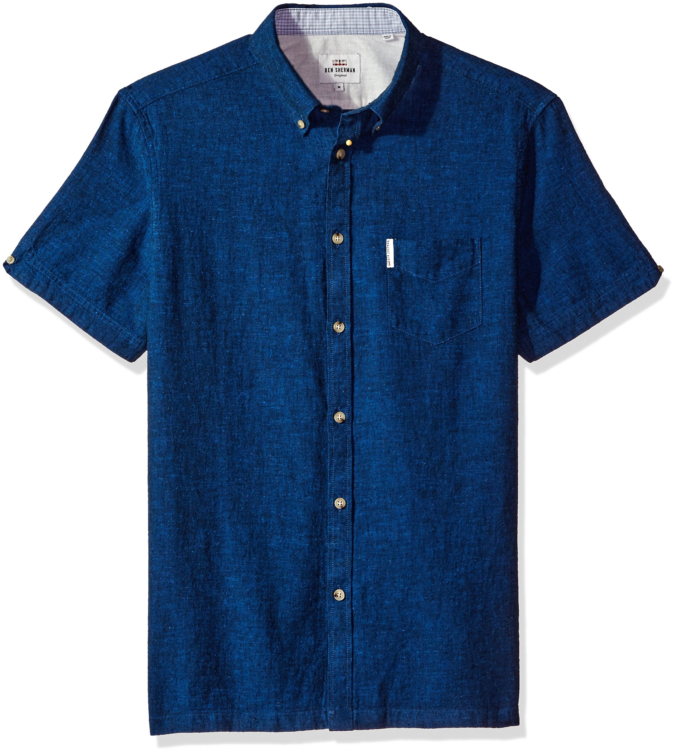 Ben Sherman Men's Short Sleeve Modern Plain/Linen Summer, Navy Blazer, Large by Ben Sherman
