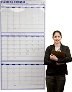 Vertical 72 x 36 inch- Blank 3 Month Dry Erase Wall Calendar - Large Dry Erase Calendar for Wall - 90 Day Giant Calendar for Office, School or Home - Blank Calendar
