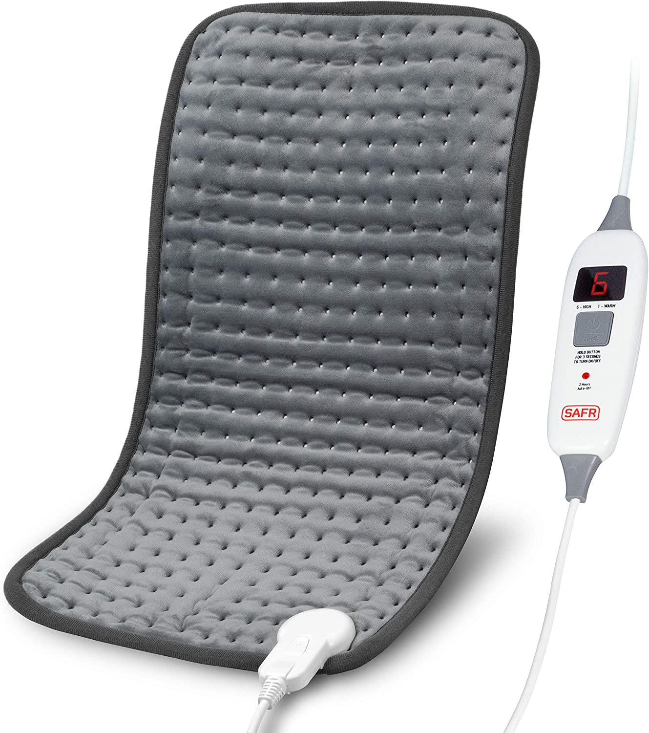"""SAFR Thermotherapy Electric Heating Pad - FirmTouch Microfiber - [12""""x24"""" 