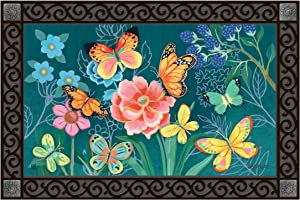 Studio M MatMates Colorful Butterflies Decorative Floor Mat Indoor or Outdoor Doormat with Eco-Friendly Recycled Rubber Backing, 18 x 30 Inches