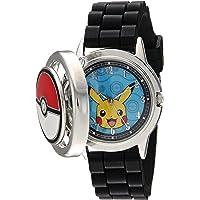 Pokemon - Reloj de cuarzo para hombre, metal y silicona, color negro (modelo: POK9025)