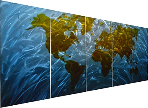 Pure Art Blue World Map Metal Wall Art