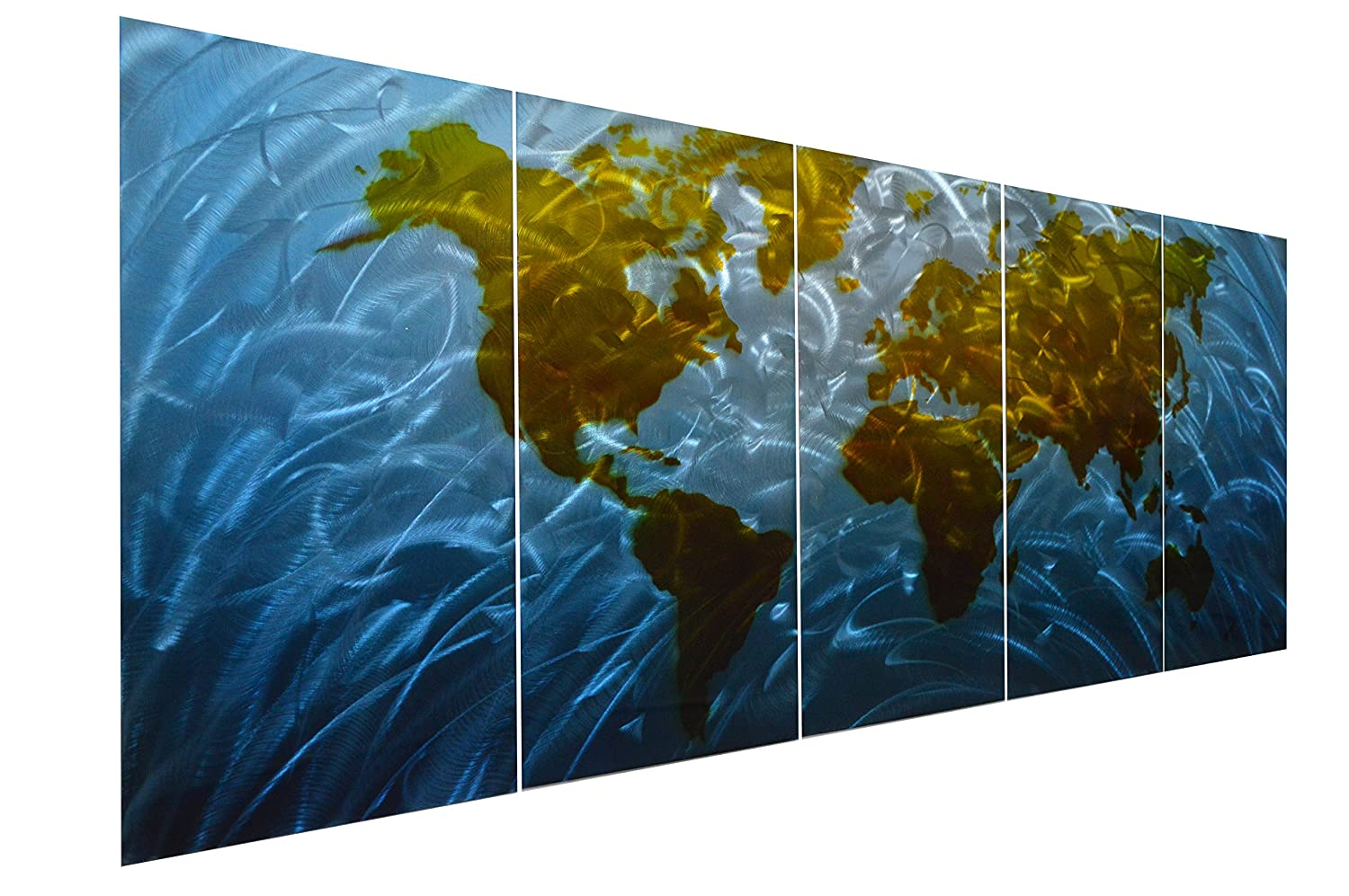 """Pure Art Blue World Map Metal Wall Art, Large Scale Hanging, 3D Wall Art for Modern and Contemporary Decor, 5-Panel Abstract Contemporary Sculpture, 24""""x 64"""", Works in Indoor and Outdoor Settings"""