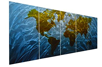Pure Art Blue World Map Metal Wall Art, Large Scale Hanging, 3D Wall Art