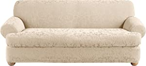 SureFit Stretch Jacquard Damask 2-Piece - Sofa Slipcover - Oyster
