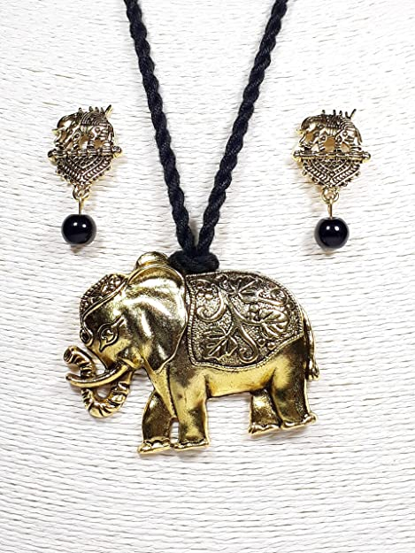 Shana Fashions   SF12   Long Black Thread Exclusive Oxidised Gold Elephant Pendant Necklace. Chains   Necklaces